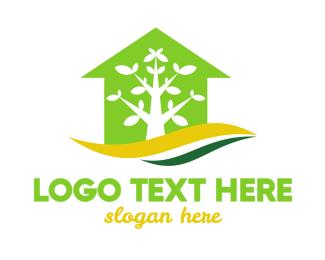 Greenhouse - Green House Tree logo design