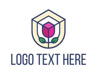 Botanist - Mosaic Flower Shield logo design