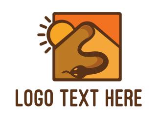 Orange And Brown - Snake Desert Dune logo design