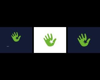 High Five - Green Hand Star logo design