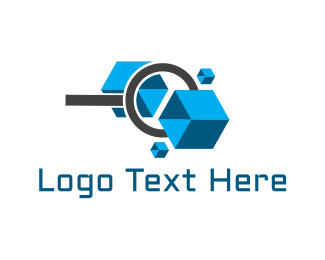 Magnifying Glass - Cube Zoom logo design