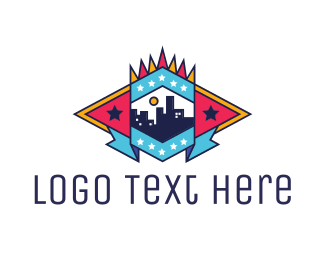 Tour - Red Blue City  logo design