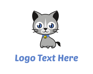 Bell - Cute Cat Cartoon logo design