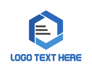 Database - Blue Hexagon logo design