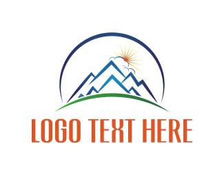 Sun - Sunrise Blue Mountain  logo design