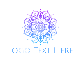 Drawing - Gradient Flower Outline logo design