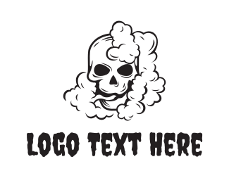 Hookah - Smoking Black Skull logo design