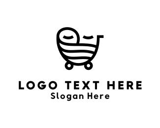 Mom - Baby Carriage logo design