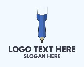 Writer - Pen Missile logo design