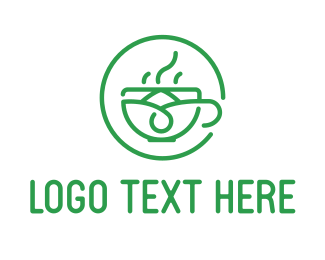 Tea Shop Cafe Circle Logo Maker