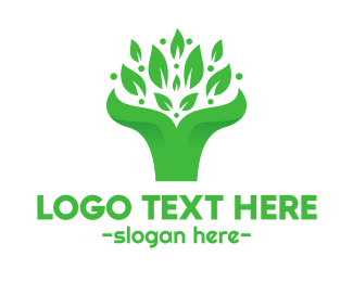 Primitive - Green Leaf Bouquet  logo design