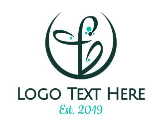 Script - Round F Flower logo design
