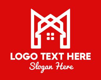 Shelter - Modern Red Ribbon House logo design