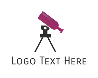 Wine Bottle - Wine Telescope logo design