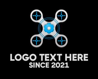 Quadcopter - Blue Grey Drone logo design