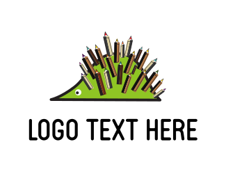 Preschool - Pencil Hedgehog logo design
