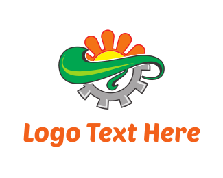 Agronomy - Orange Flower & Grey Screw logo design