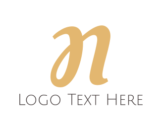 Sleek - Gold Cursive Letter N logo design