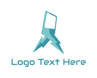Phone Repair - Blue Lightning Phone logo design