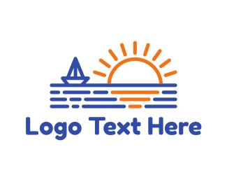 Yacht - Blue Boat & Sunrise logo design