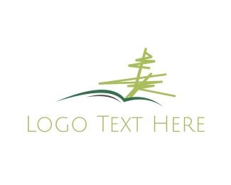 Pine - Tree Book logo design