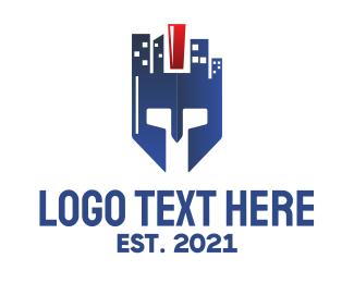 Business Center - Blue City Helmet logo design