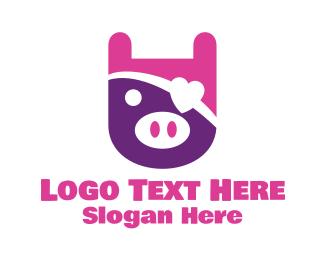 Pirate - Cute Pig logo design