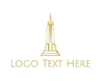 Nyc - Gold Sharp Tower logo design