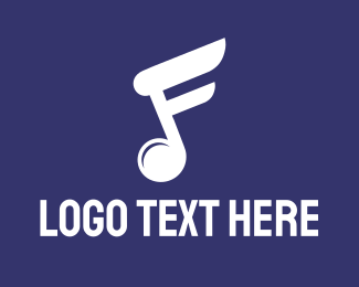 Guitar - White Music Note logo design