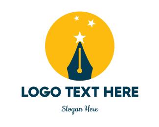 Writer - Quill & Stars logo design