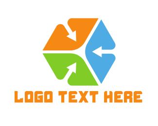 Air Cargo - Colorful Arrow Cube logo design