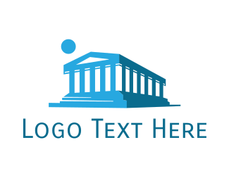 Destination - Blue Abstract Temple logo design