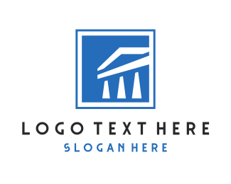 Wall St - Square Blue & White Pillars logo design