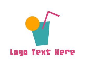 Straw - Tropical Drink logo design