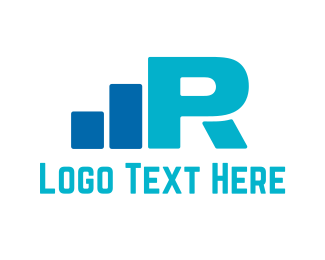 Wireless - Blue Letter R logo design