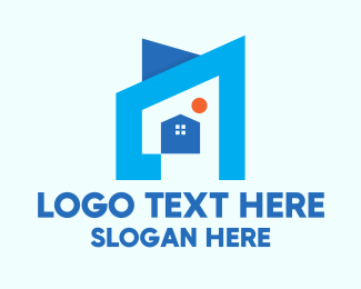 Establishment - Blue Geometric House logo design