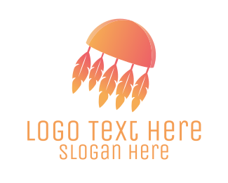 Hippie - Feather Jellyfish logo design