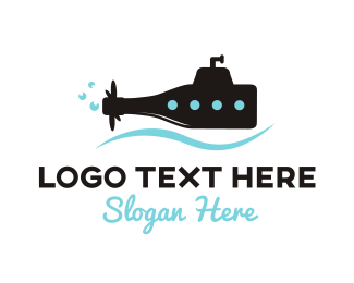 Submarine - Bottle Submarine logo design