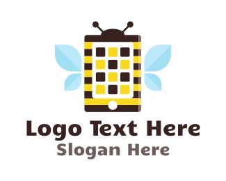 Cell Phone - Bee Application logo design