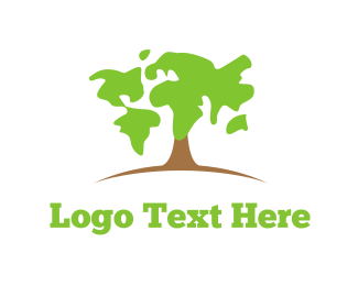 Worldwide - Map Tree logo design