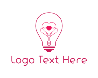 Valentine - Heart Light logo design