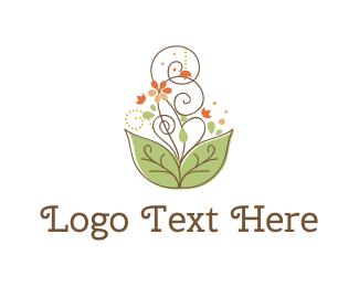 Fountain - Flowers & Swirls logo design