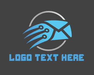 Post - Blue Fast Mail logo design