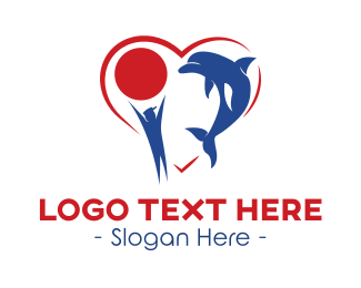 Aquarium - Dolphin Love logo design