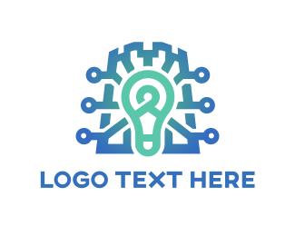 Educational - Bulb & Circuits logo design