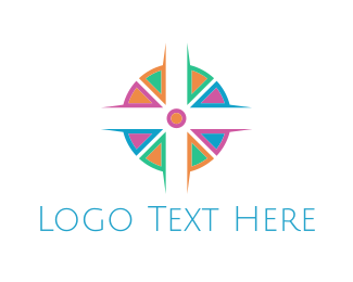 Mosaic - Colorful Cross logo design