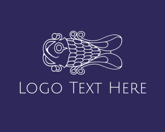 Fish - Curly White Fish logo design