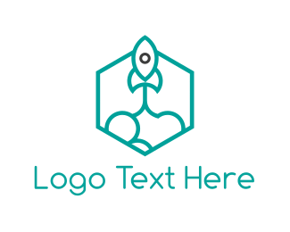 Exploration - Rocket Hexagon logo design