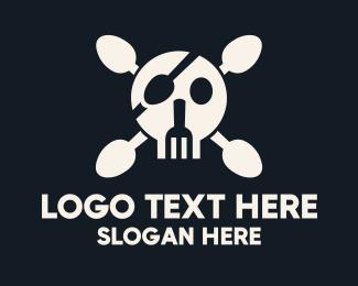 Illustrative - Cutlery Pirate Skull & Crossbones logo design