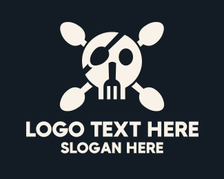 Cranium - Cutlery Pirate Skull & Crossbones logo design